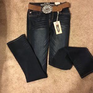 NWT Wallflower Jeans Dark Blue Slim Boot Cut